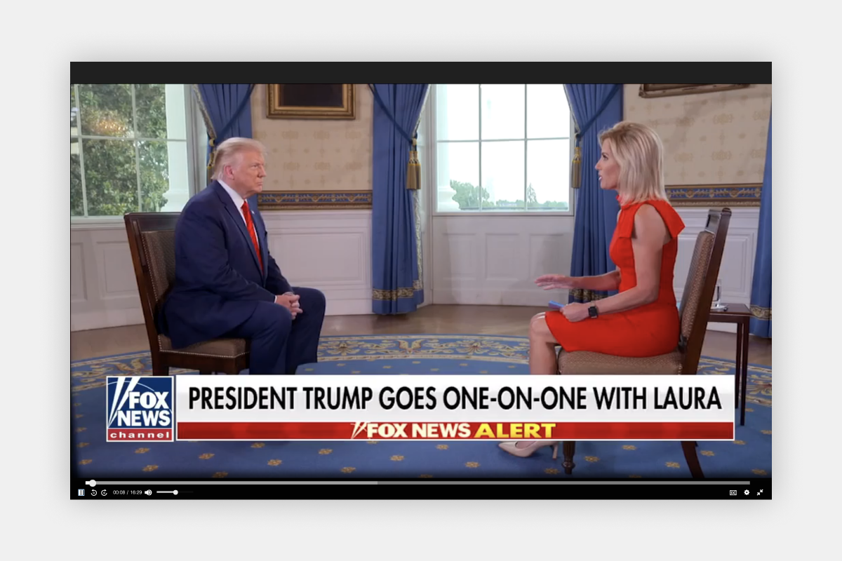"""Trump interviewed by Fox's Laura Ingraham, claims Biden is controlled by people in """"dark shadows"""""""