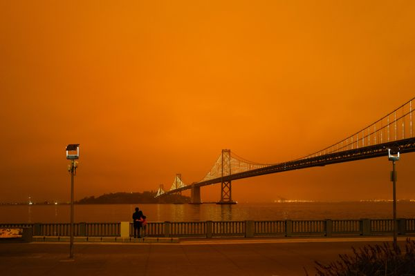 Orange sky over the San Francisco Bay Bridge due to the west coast wildfires.