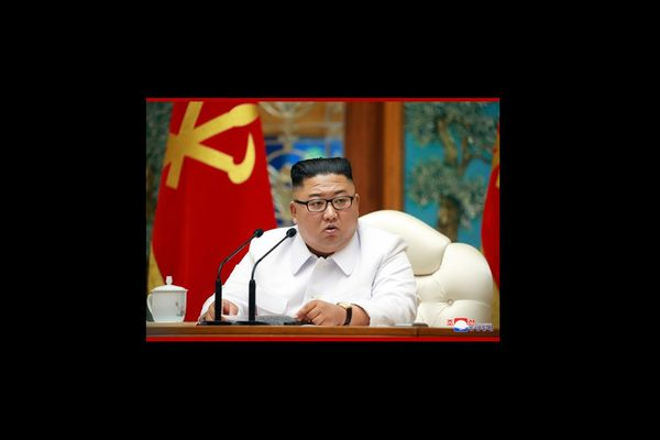 Kim Jong-un in a meeting of the WPK Central Committee