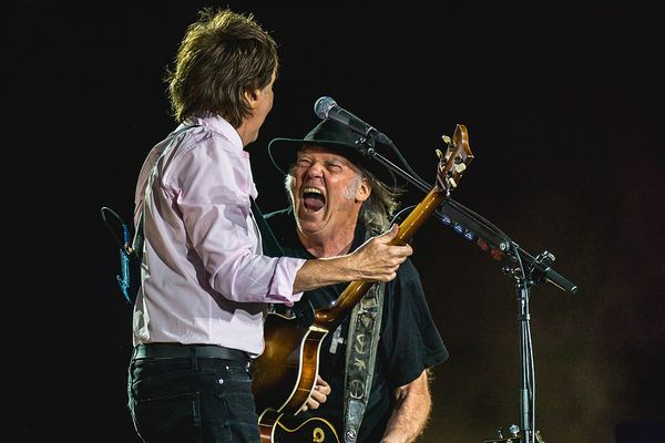 Neil Young performing with Paul McCartney on October 8, 2016