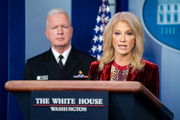 Counselor to the President Kellyanne Conway during a press briefing Thursday, Jan. 30, 2020