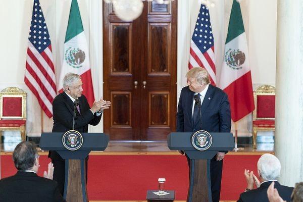 Donald Trump with President of the United Mexican States Andres Manuel Lopez Obrador, July 2020