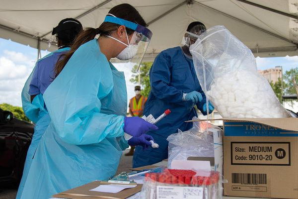 Nurses working alongside Airmen with the 125th Air Expeditionary Squadron begin antibody testing at the Orange County Convention Center Community Based Testing Site.