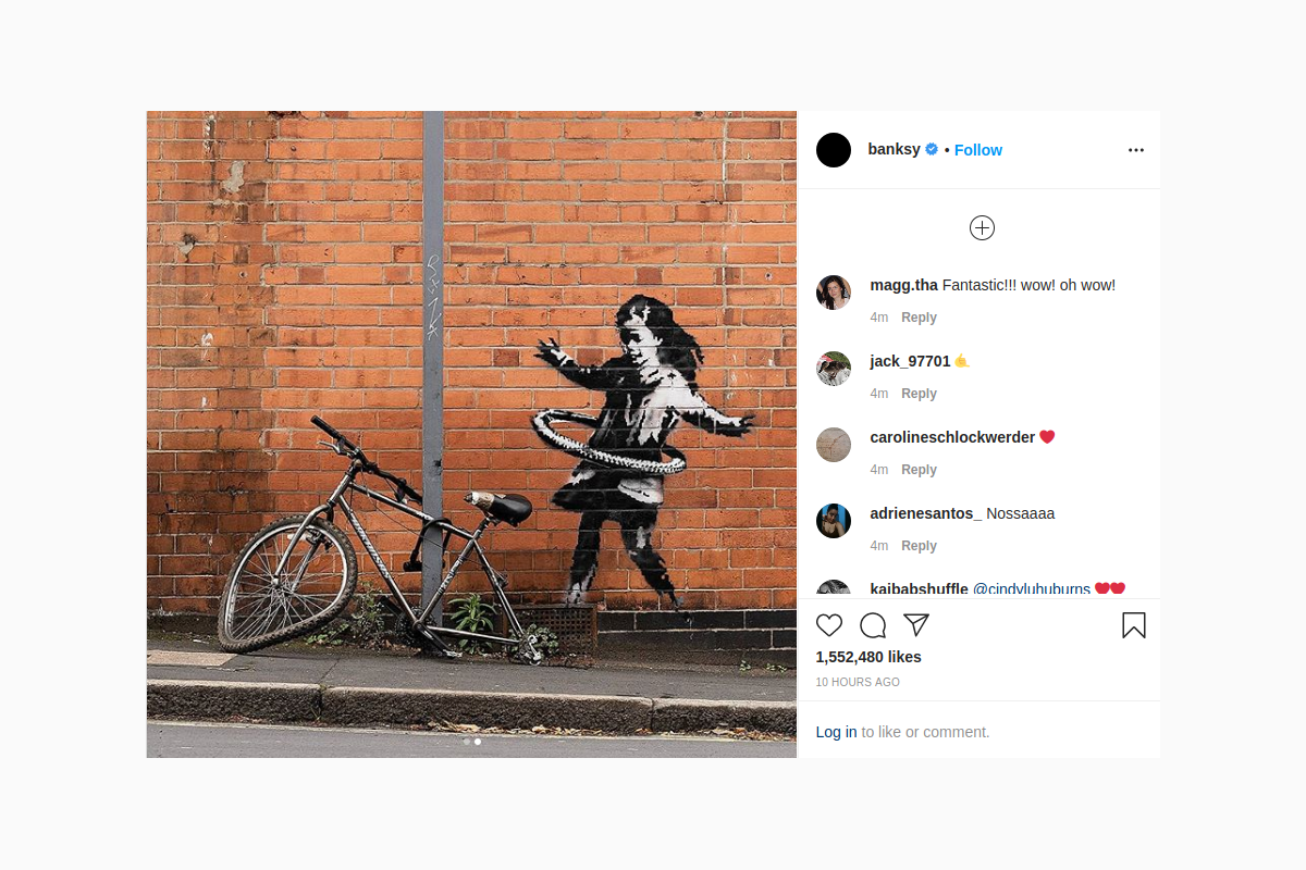 Banksy claims hula-hooping girl street art in Nottingham