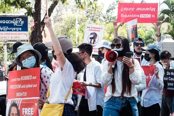 Protest in Myanmar against Military Coup