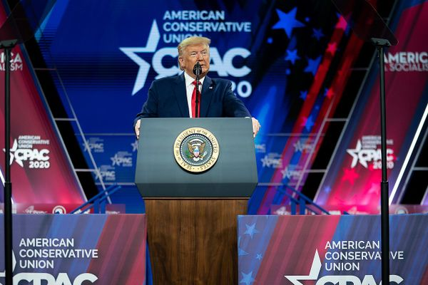 Trump  at the Conservative Political Action Conference (CPAC) at the Gaylord National Resort and Convention Center in Oxon Hill, Md, 2020