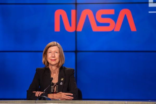 NASA's Kathy Lueders participates in a post-launch news conference inside the Press Site auditorium at the agency's Kennedy Space Center in Florida on May 30, 2020