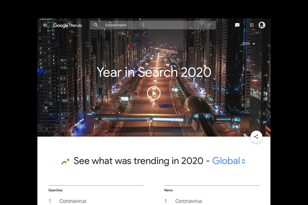 "Screenshot of ""Year in Search 2020"""