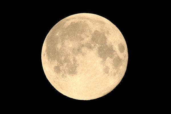 "Full moon, so called ""Strawberry moon"" viewed  from Tochigi prefecture, eastern Japan."