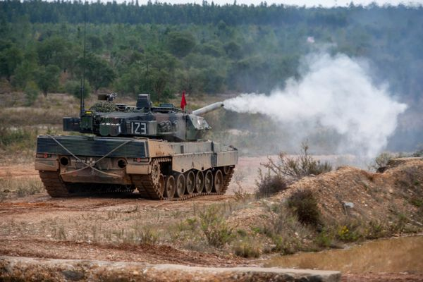 A Leopard 2 tank in a NATO exercise