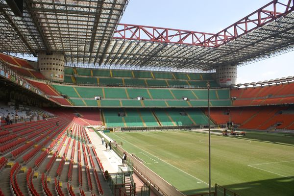 San Siro Stadium in Milan, Italy photographed while empty.