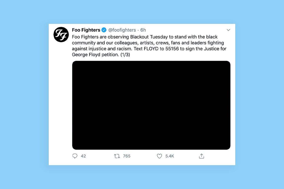 Music industry announces Blackout Tuesday in support of protests in the US