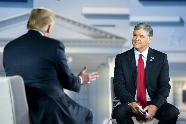 Sean Hannity interviewing Donald Trump for Fox News