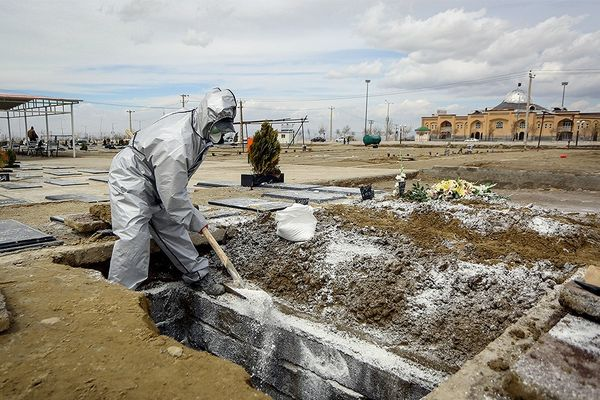 Temporary graves in Iran during COVID-19 pandemic, March 2020