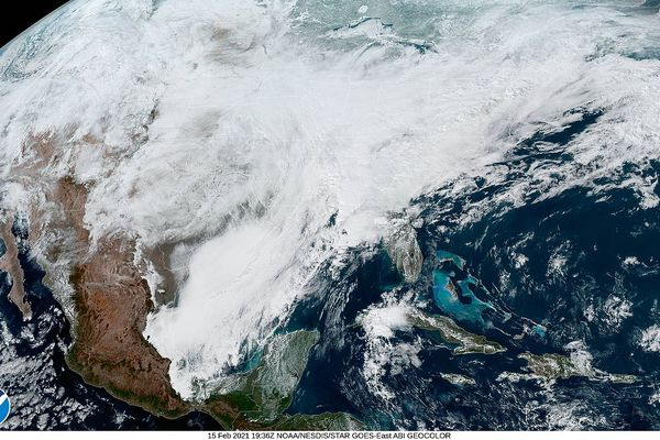 Geocolor satellite imagery of a large and historic winter storm covering the eastern third of the United States on February 15, 2021.