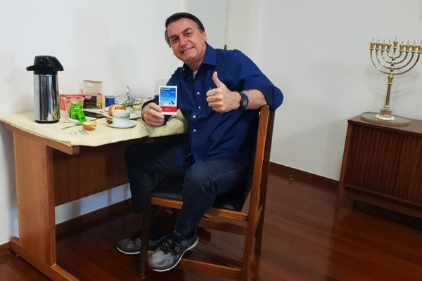 Jair Bolsonaro, promoting hydroxychloroquine as a Covid-19 treatment