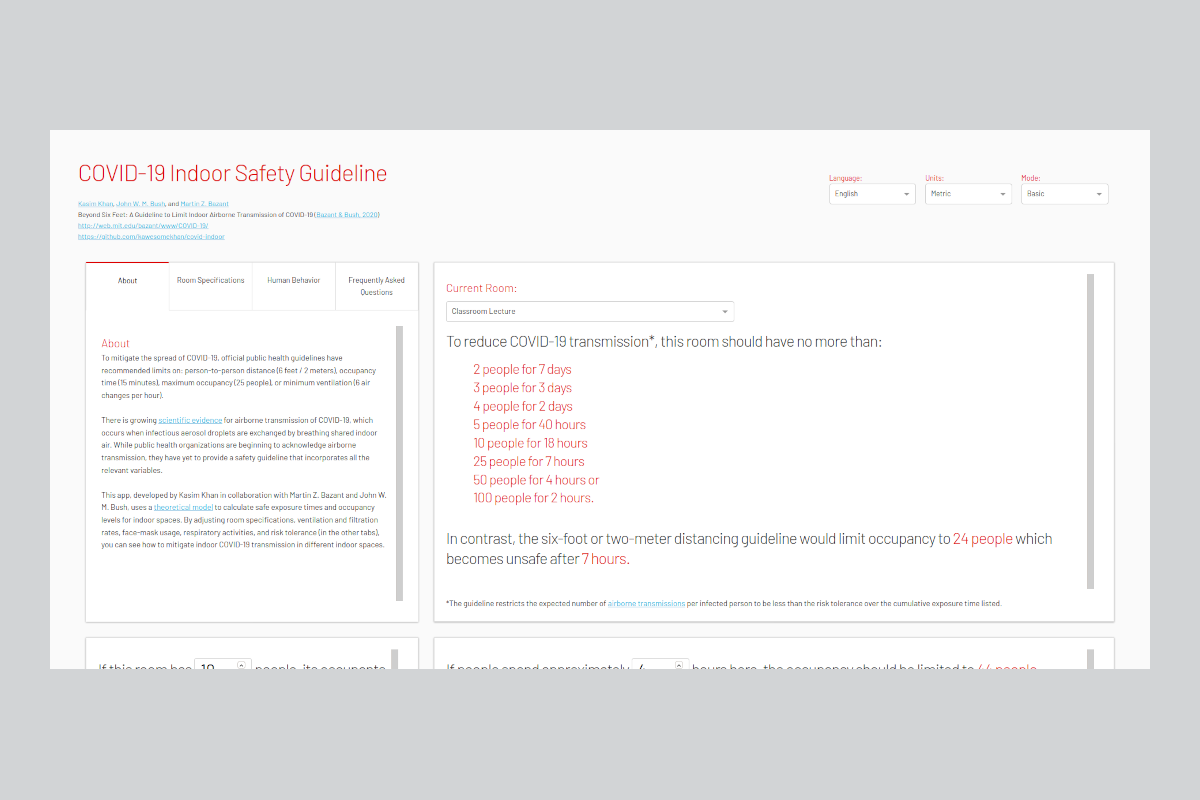 Interactive tool from MIT created to evaluate indoor safety with Covid-19