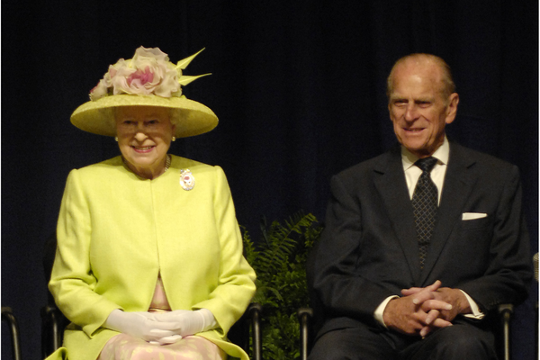 Queen Elizabeth II and Prince Philip, Duke of Edinburgh, at NASA Goddard Space Flight Center in Greenbelt, Maryland in 2007
