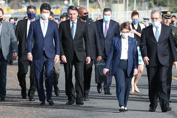 Jair Bolsonaro (without mask) in Brasilia, Brazil