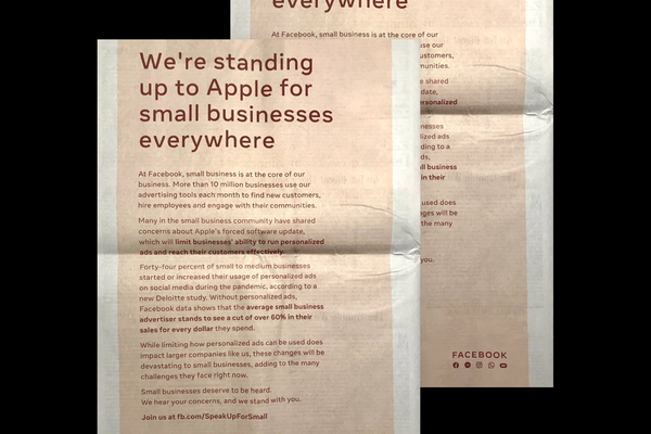 Facebook criticizes Apple's iOS privacy changes in newspaper ads