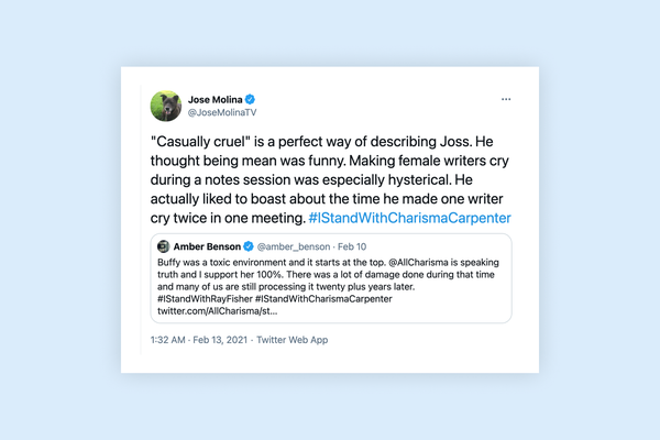 """Jose Molina speaks out against Joss Whedon, saying """"'Casually cruel' is a perfect way of describing Joss"""""""
