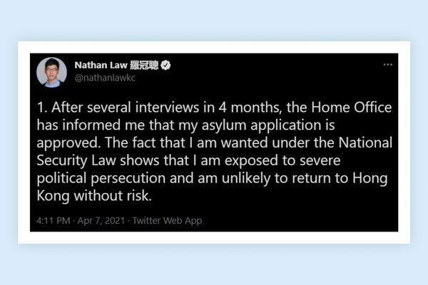Hong Kong activist Nathan Law receives asylum in Great Britain