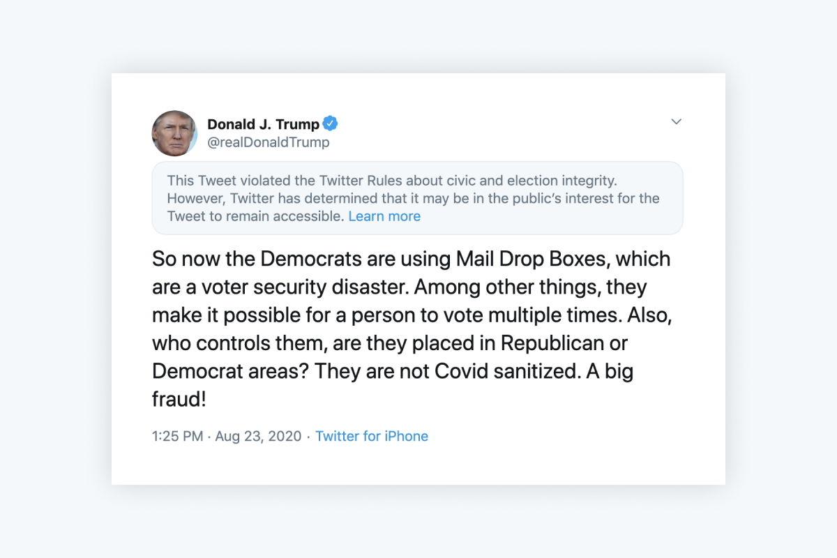 "Trump tweets that mail drop boxes are a ""voter security disaster"""
