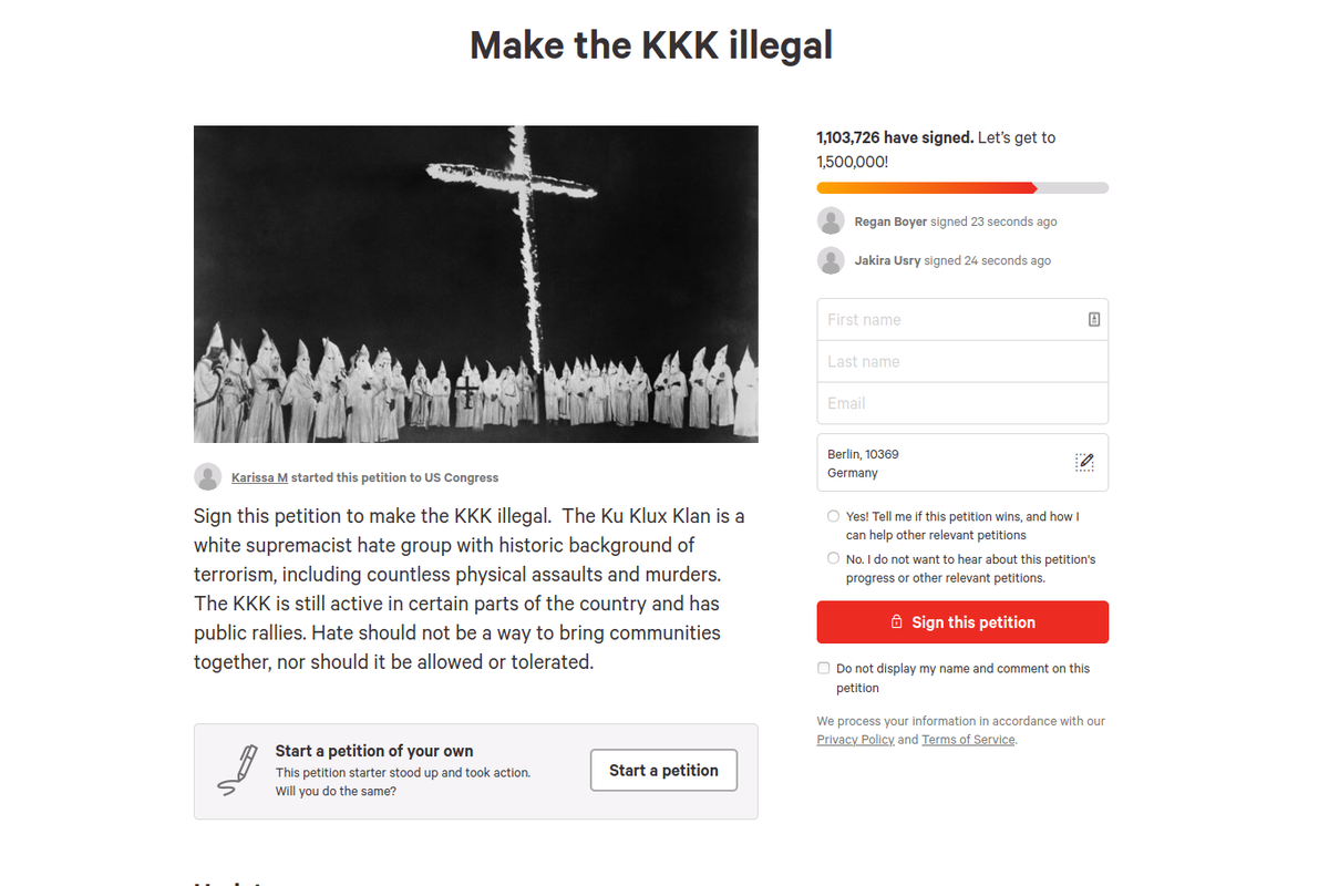 """Petitions: Over 1.000.000 people sign two petitions that call for ban of KKK and declaration as a """"Terrorist Organizations"""""""