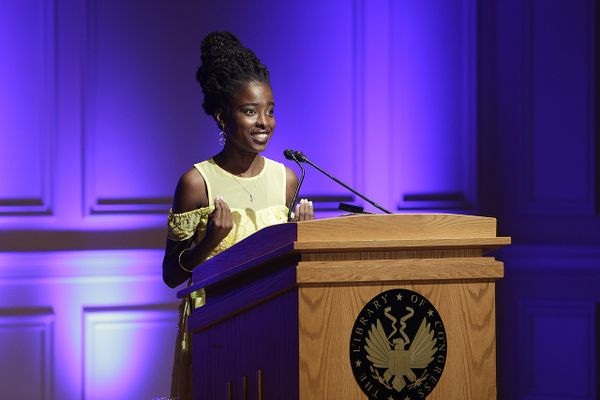 "National Youth Poet Laureate Amanda Gorman reads her work, ""An American Lyric,"" at the inaugural reading of Poet Laureate Tracy K. Smith, September 13, 2017."
