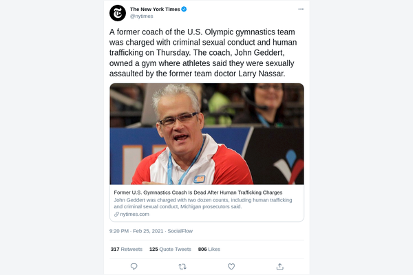 Former USA gymnastics coach John Geddert dead after sex assault charges