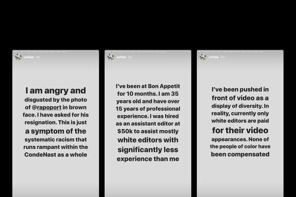 Screenshots of Sohla El-Waylly's Instagram story, addressing Rapoport and unequal pay at BA