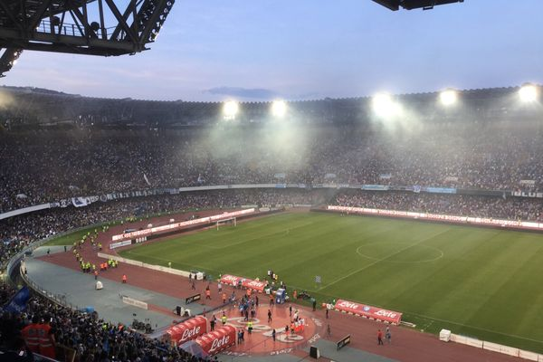 San Paolo Stadium in a match between Napoli versus Crotone