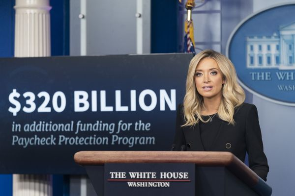 Kayleigh McEnany addresses her remarks at a White House press briefing Friday, May 1, 2020,