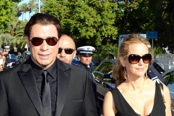 "John Travolta and Kelly Preston at the Cannes film festival, for the 20th anniversary of ""Pulp fiction"""