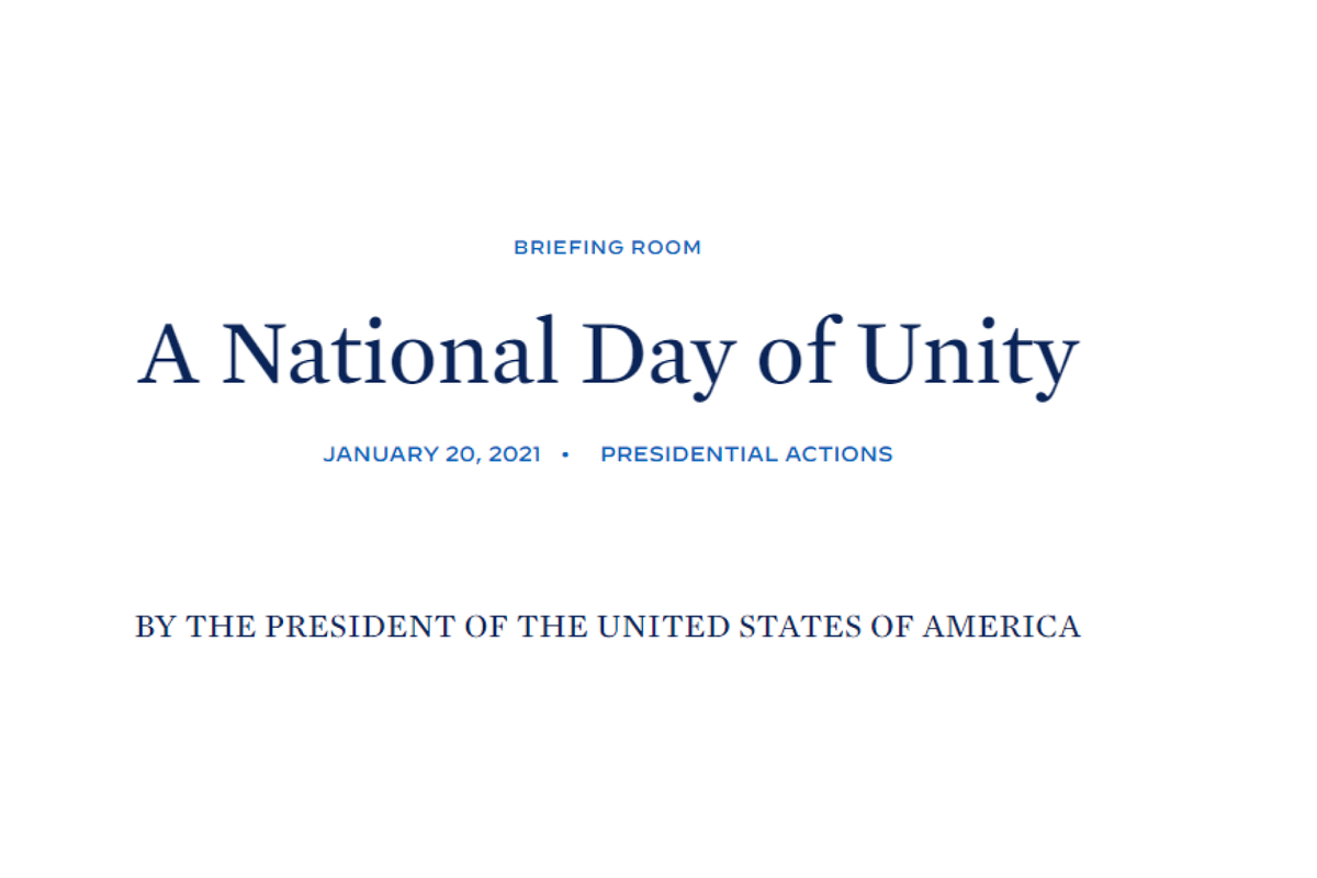 Biden proclaims National Day of Unity