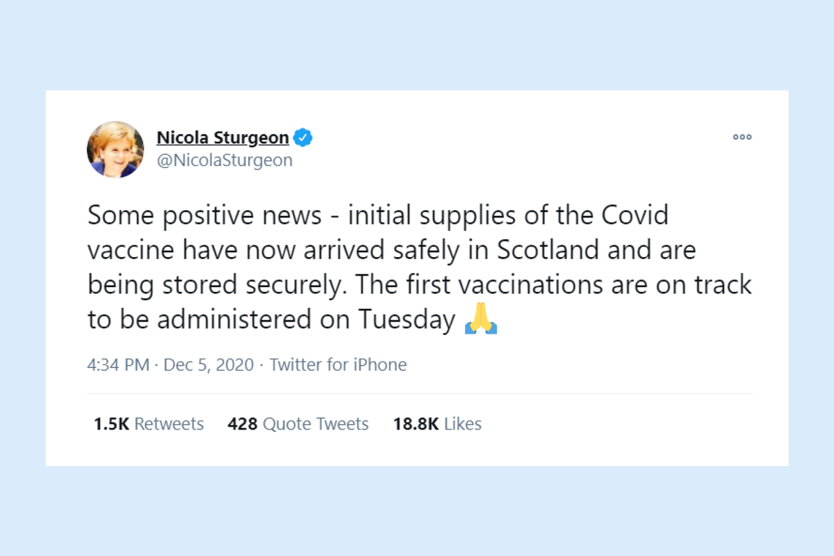 Scotland announces that first Covid-19 vaccinations will be administered on Tuesday