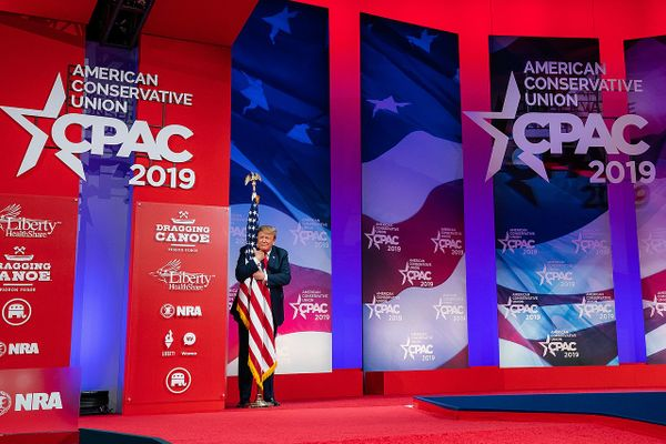 Donald Trump at the Conservative Political Action Conference (CPAC) at the Gaylord National Resort and Convention Center in Oxon Hill, Md, 2019