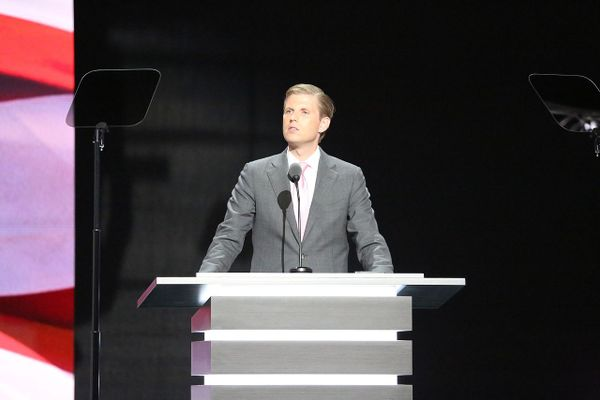 Donald Trump's son Eric delivers a speech at the 2016 Republican National Convention