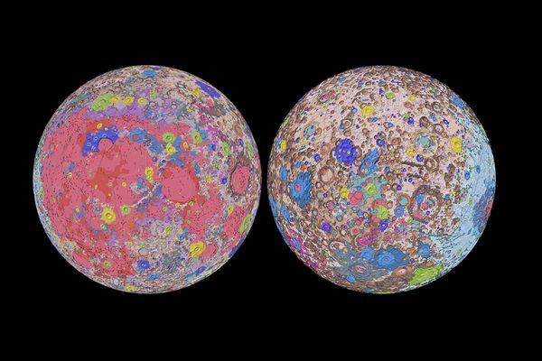 Orthographic projections of the Unified Geologic Map of the Moon showing the geology of the Moon's near side (left) and far side (right