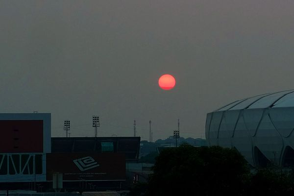 Smoke from the Amazon fires covers the sun in Manaus, Brazil