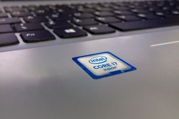 Intel sticker on laptop computer
