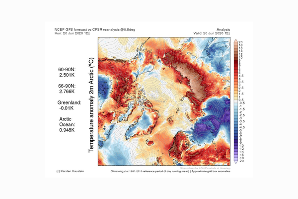 Temperature anomaly 2m Arctic Analysis, 20 June 2020