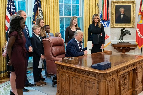 Amy Coney Barrett and her family with President Donald Trump and First Lady Melania Trump, September 27, 2020