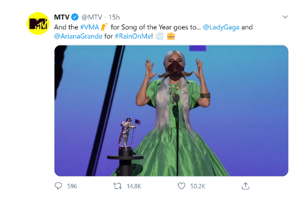 Lady Gaga wins five prizes and receives special award at MTV Video Music Awards