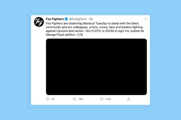 Foo Fighters Tweet about #blackouttuesday
