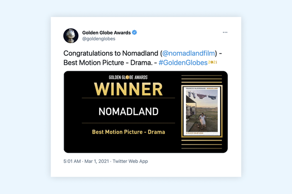 Golden Globe 2021 wins: Nomadland, Borat, The Crown, Chadwick Boseman
