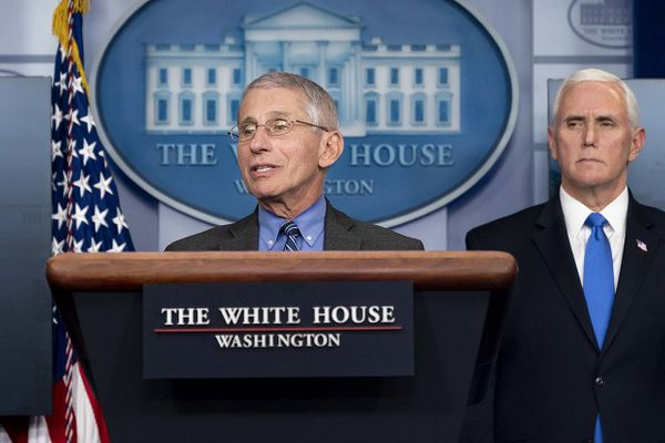 Dr. Anthony S. Fauci at the James S. Brady Press Briefing Room of the White House, April 2020