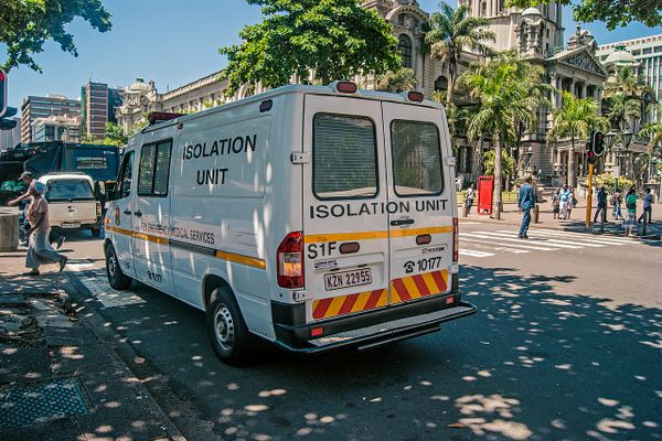 Ambulance responding to Covid-19 suspected cases and place them in isolation hospitals and quarantine in Durban, KwaZulu Natal, South Africa