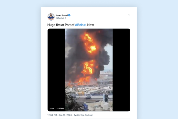 A video of the fire at the port of Beirut, posted on Twitter by activist Imad Bazzi
