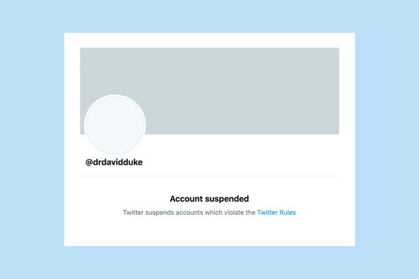 David Duke's suspended Twitter account